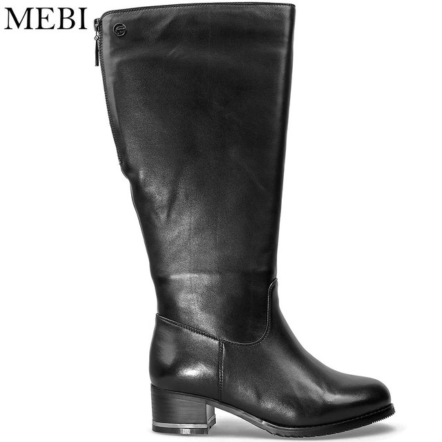 MEBI Women Winter Boots Warm Fur and Plush Mid-calf Leather Boots Extra  Wide Female Sheepskin Botas Ladies Genuine Leather Shoes fad86f2210