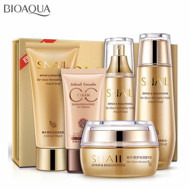 Snail Essence Moisturizing Whitening Skin Care Set Facial Cream BB Cream Toner Cleanser Lotion Face Care Anti Wrinkle 5pcs/set skin care laikou collagen emulsion whitening oil control shrink pores moisturizing anti wrinkle beauty face care lotion cream