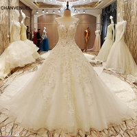LS70985 Elegant Bridal Gowns Cape Sleeves Ball Gown Flower Wedding Gowns With Long Tail Robe De