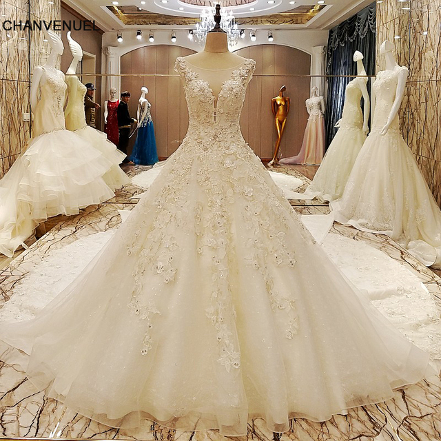 Ls70985 Elegant Bridal Gowns Cape Sleeves Ball Gown Flower Wedding With Long Tail Robe De