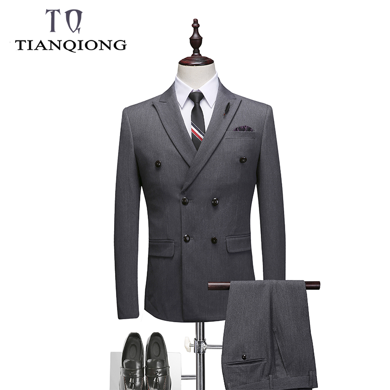 Double Breasted Suit Men 2019 New Men's Suits With Pants And Vest Gray Wedding Groom Tuxedo 3 Piece Suit Mens Formal Wear