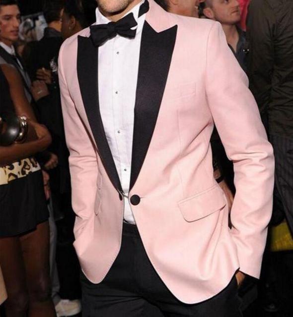 MS18 New Custom Made Men\'s Wedding Suits Pink Groomsman Suits ...