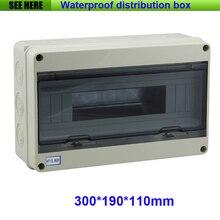 Бесплатная Доставка Ясно Крышка ПК ABS Тела 15Way Водонепроницаемый IP65 Электрические Распределительная Коробка Размер 300*190*110 мм