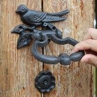 2 Antique Door Knockers Cast Iron Bird Novelty DoorKnocker with Hanging Ring Handle Home Decor Door Latch Gate Door Decoration