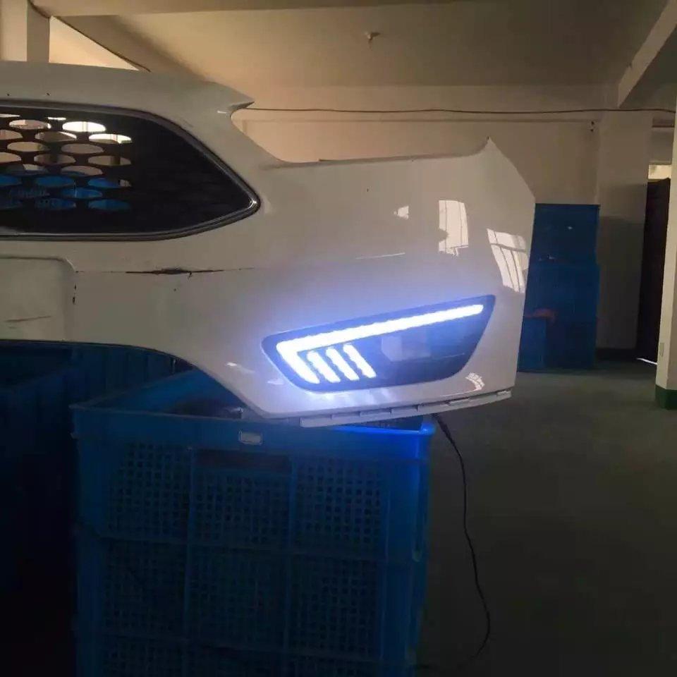 eOsuns светодиодными фарами дневного света DRL для Форд Фокус 4 2015, желтый поворотник, синий ночного света, беспроводной выключатель