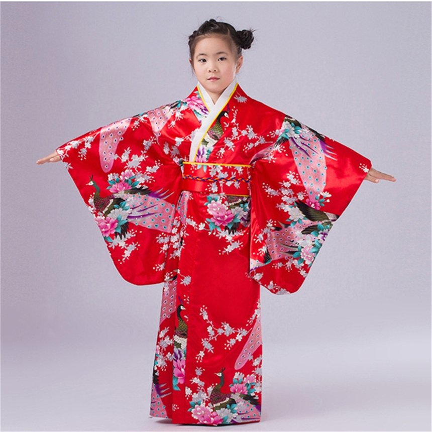 2019 Traditional Kimono Girl Japanese Dress Silk National Traditional Print Cherry Red Blossoms Costume for Girls Japan Clothing girl