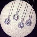 Ювелирные Изделия Женщин 8 мм Имитация алмазный Cz 925 серебряных Обручальное Кулон с 45 см цепи