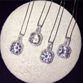 Fashion Jewelry Women 8mm Simulated diamond Cz 925 silver Wedding Pendant with 45cm chain