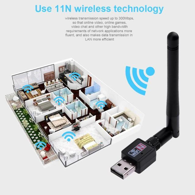 300Mbps USB Wifi Adapter USB 2.0 Wifi Router Wireless Adapter Network LAN Card with 802.11n Antenna for Laptop Computer 1