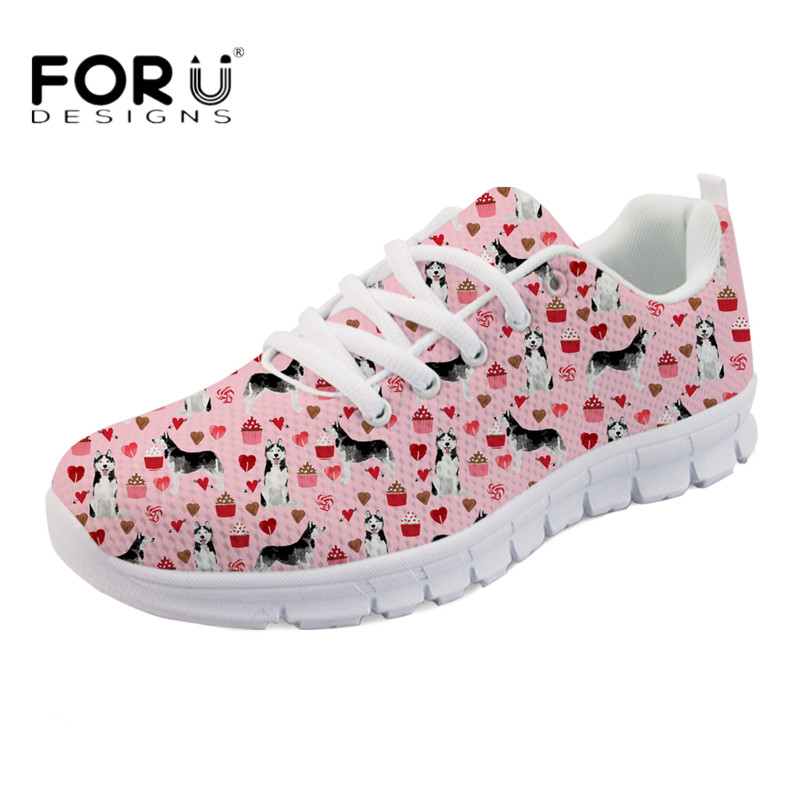 FORUDESIGNS 2018 Fashion Casual Flats Cute Animal Husky Print Women Air Mesh Sneakers Ladies Breathable Light Weight Flat Shoes minika fashion air mesh shoes women breathable