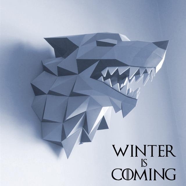 37 Cm Game Of Thrones Haus Stark Winterfell Direwolf Kopf Papier
