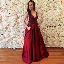 Bbonlinedress New Designed Prom Dresses 2019 Elegant Beading Evening Dress Sexy V-Neck Gowns Burgundy Satin Party