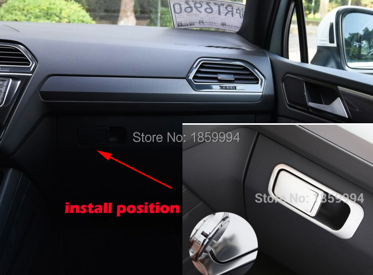 PER IL 2016 2017 2018 VW tiguan mk2 LHD Co-pilota lato copilota Chrome Bracciolo Copertura Dell'interruttore sticker Trim auto Styling