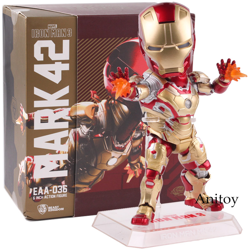 EAA-036 Marvel Iron Man 3 MARK 42 Action Figures with LED Light PVC Egg Attack Action Collectible Model Toys Gift 17cm iron man action figure mini egg attack light 6pcs set action figures pvc brinquedos collection figures toys for christmas gift