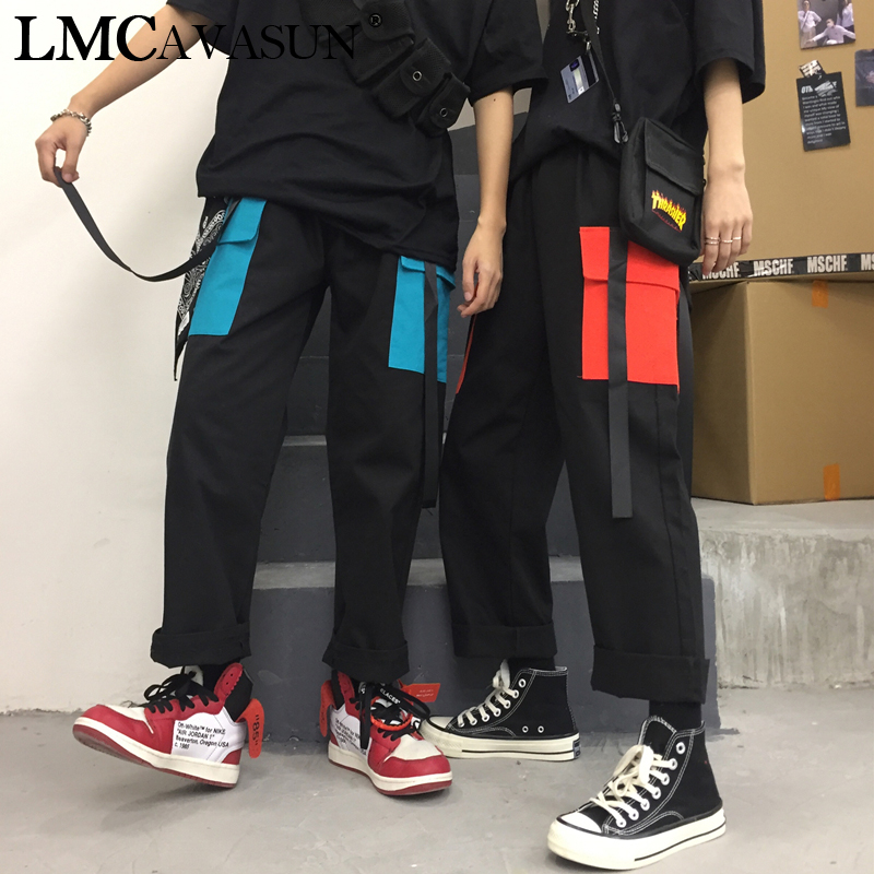 LMCAVASUN Streetwear Cargo   Pants   Male Women couple Casual Joggers High Waist Loose Trousers Korean Style Ladies   Pants     Capri