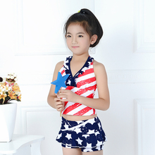 Girls Stripes and Stars Print Halter Bikini Set