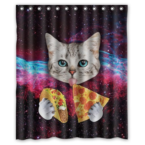 Memory Home Custom Space Nebula Universe Cat Eat Pizza Shower Curtain Stylish Waterproof Polyester Fabric Bathroom Decor In Curtains From