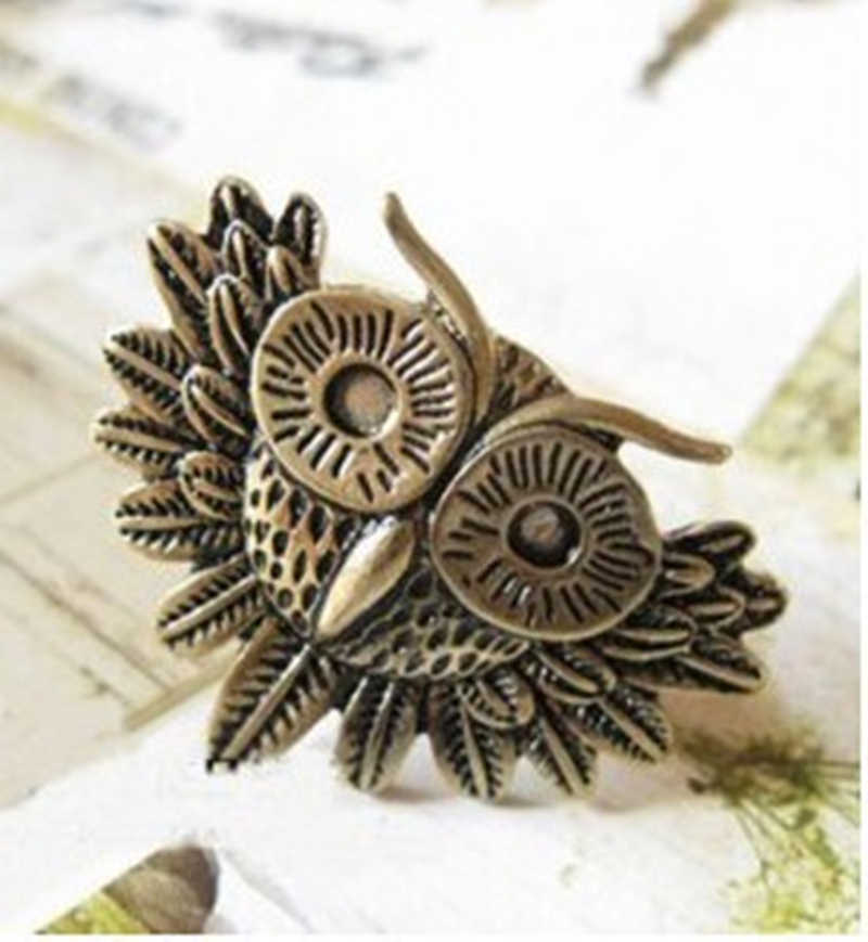 mix wholesale  2019 New Arrival Hot sale Fashion rings Retro Style gold color Owl Ring gift accessories for women