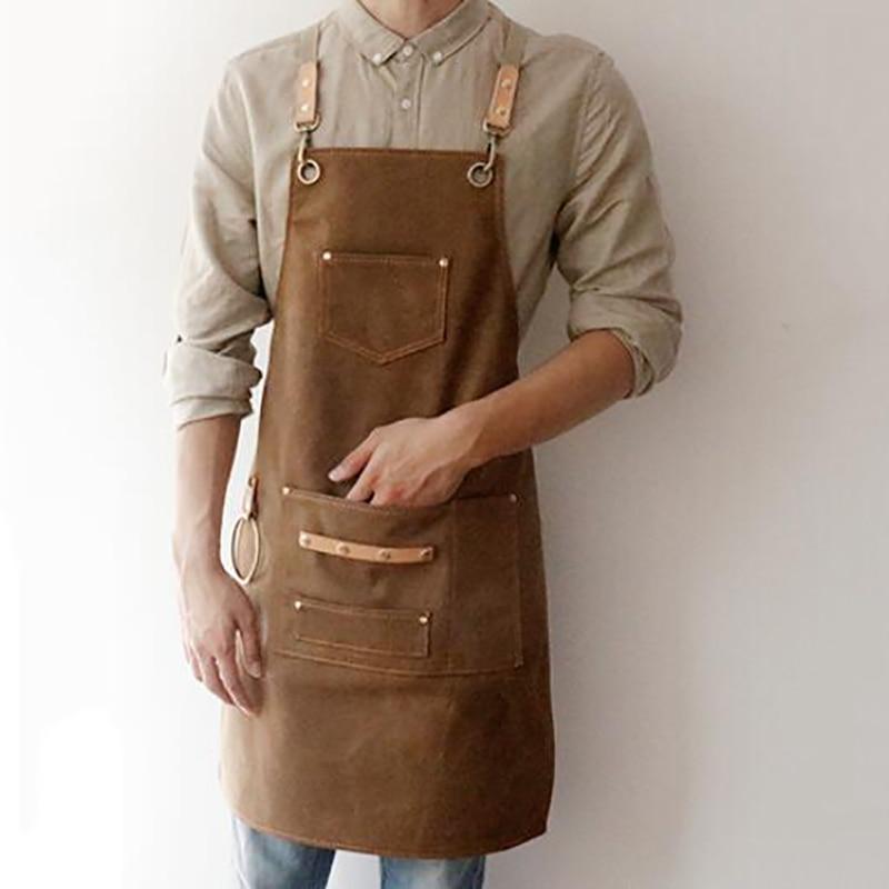 BBQ Canvas Apron Bib Leather Chef Kitchen Apron For Women Men Barista Bartender Pockets Home Barber Cook Coffee Restaurant