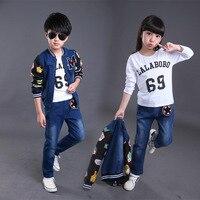 Sıcak Satış 2/3 PCS Çocuk Denim Ceket ve Pantolon Kıyafetler Kore stil Güz Çocuk Erkek Sonbahar Giysi Set 3 10 12 Için yıl