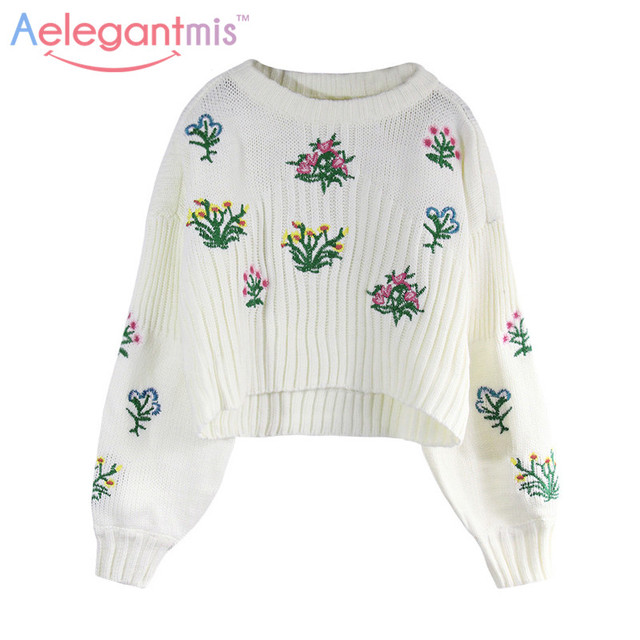 Aliexpress.com : Buy Aelegantmis Off White Loose Winter Embroidery ...