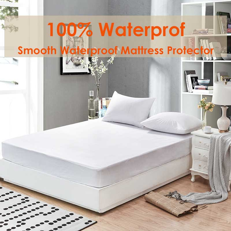 Russian 180X200CM Smooth Waterproof Mattress Protector 100% Polyester Fabric Mattress Pad Cover For Matress Boxspring Waterproof