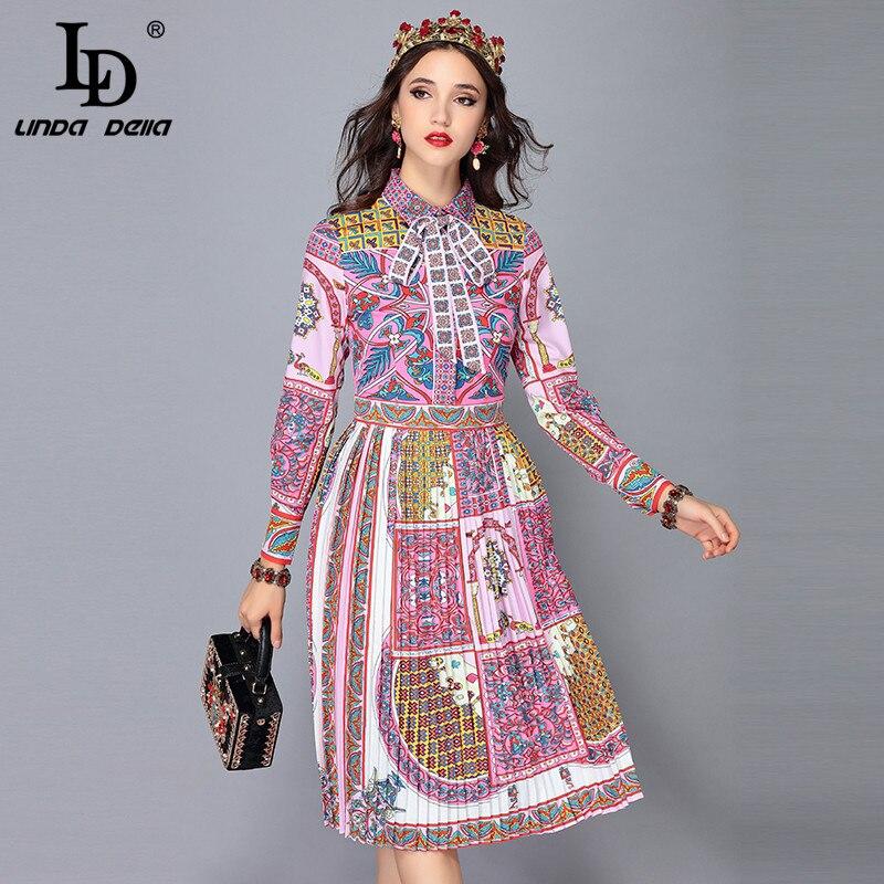 LD LINDA DELLA Runway Designer Autumn Dress Women s Long Sleeve Bow Collar Vintage Art Printed