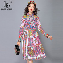 LD LINDA DELLA Runway Designer Autumn Dress Women's Long Sleeve Bow Collar Vintage Art Printed Midi Pleated Dress Vestido цена и фото