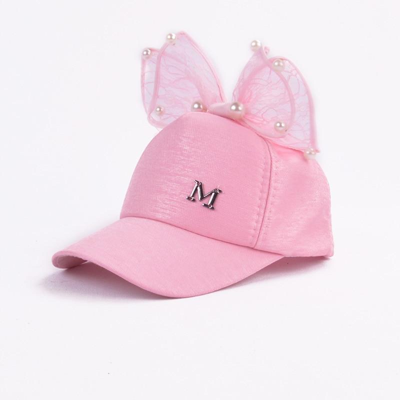 Rabbit Ear Children Baseball Cap Girls Snapback Sun Protection Hip Hop Caps Simulated Pearl Big Bow Kids Spring Summer Sun Hat