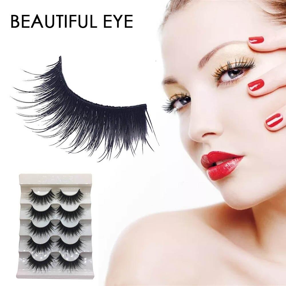 5 Pairs/ Lot Natural Curling False Eyelashes Fake Lashes Long Makeup 3D Mink Lashes Eyelash Extension Mink Eyelashes For Beauty