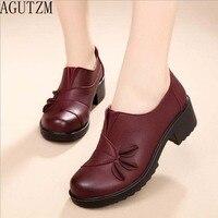 אביב סתיו האופנה AGUTZM ופרס מקרית רכות יחידה 100% עור אמיתי נשים נעליים שטוחות דירות אם V199