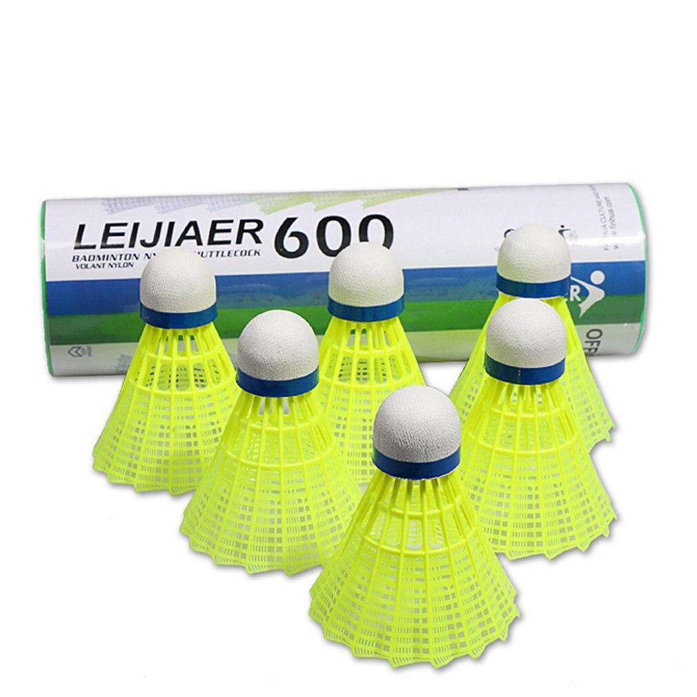 600 нейлоновый мяч для соревнований, многоцелевой Желтый Нейлоновый мяч для внутреннего и наружного применения, устойчивый нейлоновый бадминтон, 6 шт