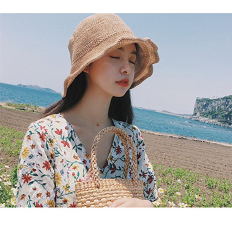 New Summer Women Fisherman Hats knit Bucket hat Foldable Fisherman Hat Female Sunscreen Beach Cap