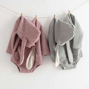 Image 1 - MILANCEL New Baby Clothing Rabbit Baby Bodysuits Bunny Ear Infant Outfit Cotton Boys Bodysuit Long Sleeve Baby Clothes