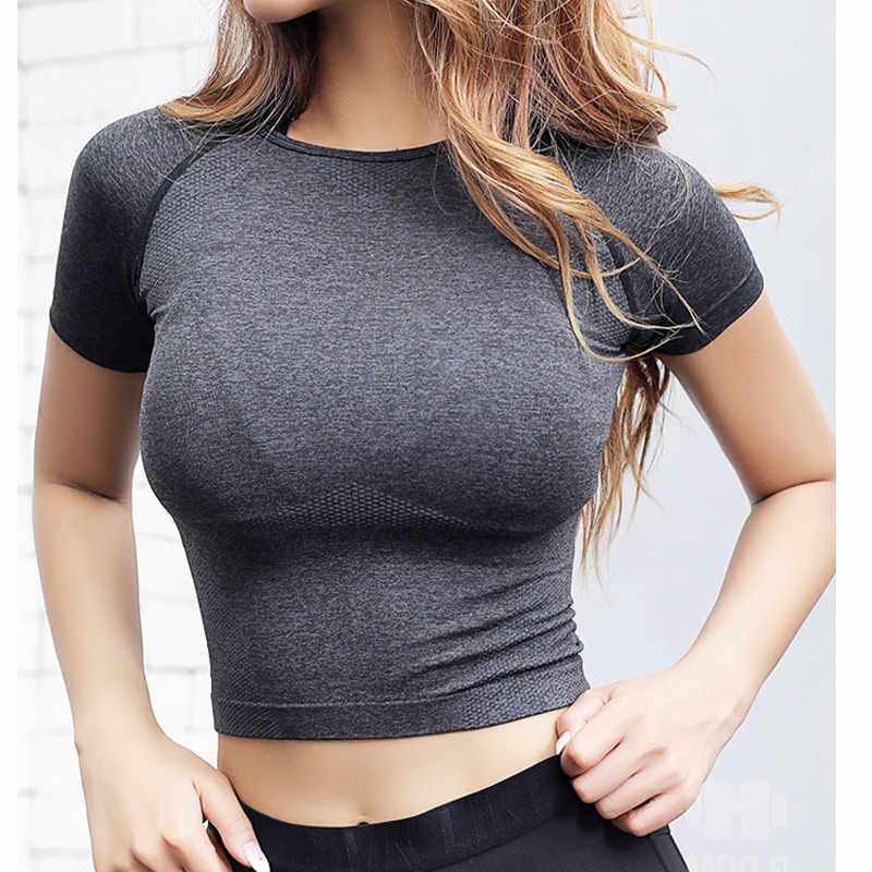 Rough Loli Ombre Seamless Crop Top Gym Shirts Workout Tops for women T shirt Fitness Exercise Tops Short Sleeve Running Shirt