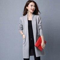 2016 Classic Cardigans Scarf Collar Fashion Basic Women Wool Knitted Pocket Cardigan Long Cashmere Women Sweater