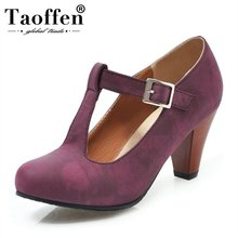 Taoffen Candy Plus Size 34-48 T-Strap Round Toe Office Ladie