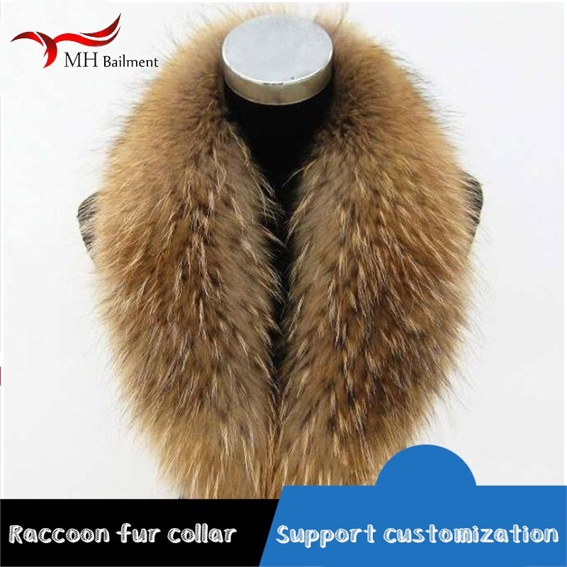 Women's Scarf Female Winter Real Raccoon Fur Collar Fox Shawl Coat Women Cap Collar Luxury Brand Collar Animal Ladies Scarves