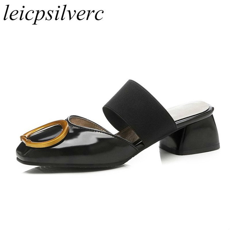 <font><b>Women</b></font> <font><b>Slippers</b></font> Mules <font><b>Shoes</b></font> Summer Spring <font><b>High</b></font> <font><b>Heels</b></font> Pu Outside Casual Party Slides Square Toe 2018 <font><b>Sexy</b></font> New Fashion Black Beige image