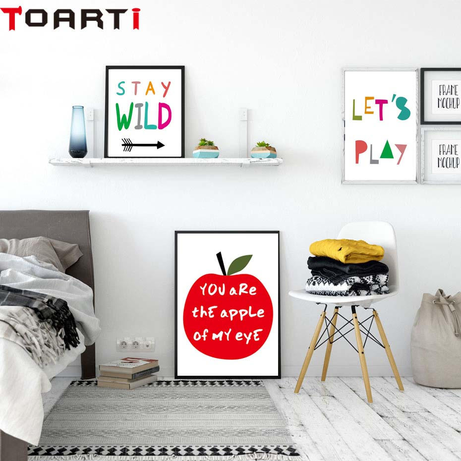 Cartoon Apple Wall Art Print Canvas Painting Nordic Poster Cartoon Wall Pictures  Living Room Kitchen Home Decor No Frame (1)