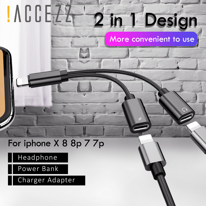 !ACCEZZ Dual Lighting Charging Calling Audio Adapter For Iphone 7 8 Plus X IOS 10 11 Phone Charger Aux Splitter Cables Connector