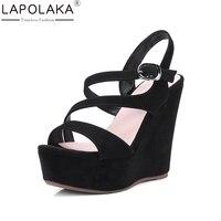 LAPOLAKA 2018 Brand Kid Suede Black Summer Sandal Shoes Women Fashion Platform Wedges High Heels Gladiator