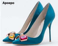Women Pumps Fashion Sexy High Heels Shoes Crystal Shallow Pumps Shoes Red Green Blue Party Shoes