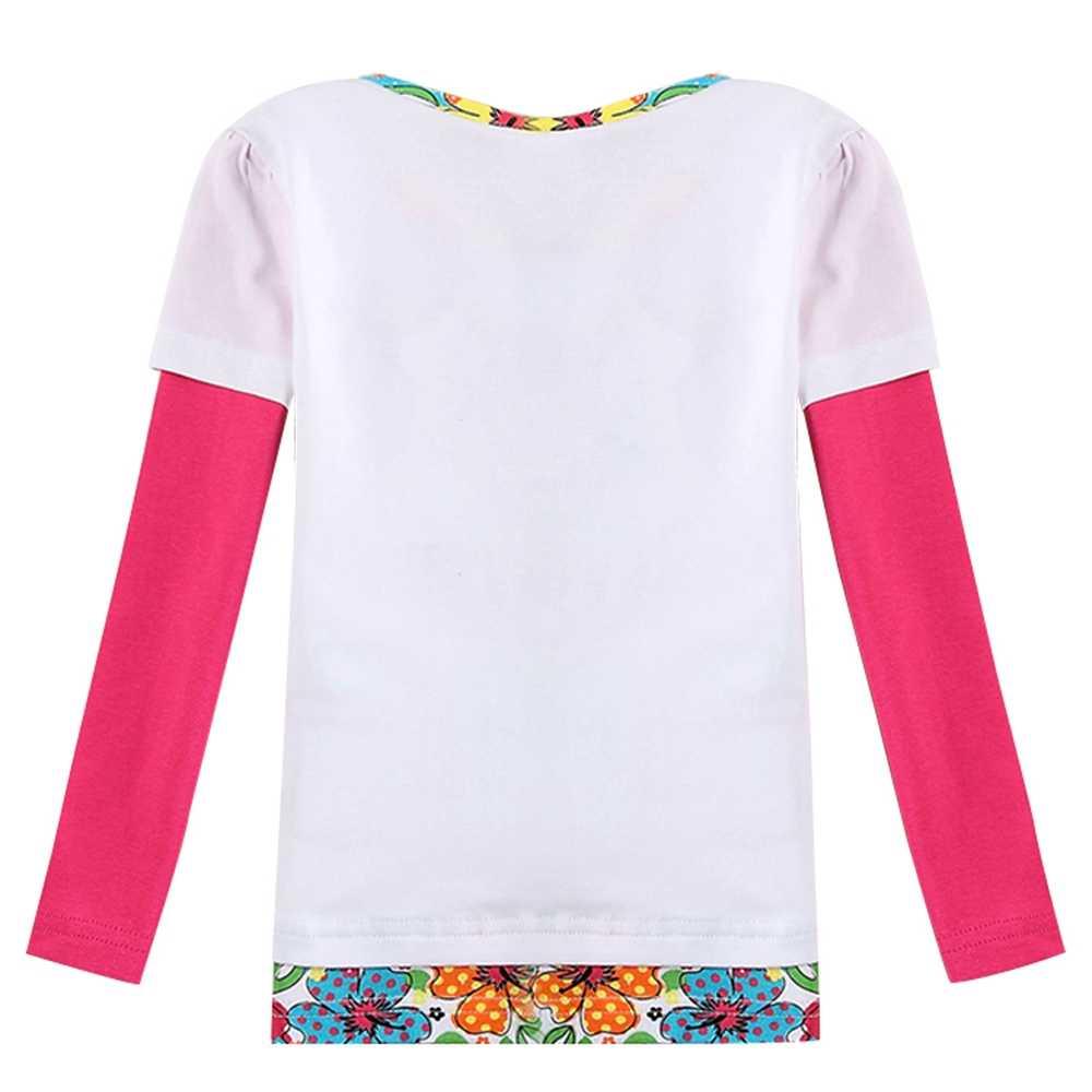 Meisjes Lange Mouw T-Shirt Katoen 2019 Nieuwe Herfst Comfort Geborduurde Bloemen Meisjes Kinderen Dragen Tops T-Shirts F5931