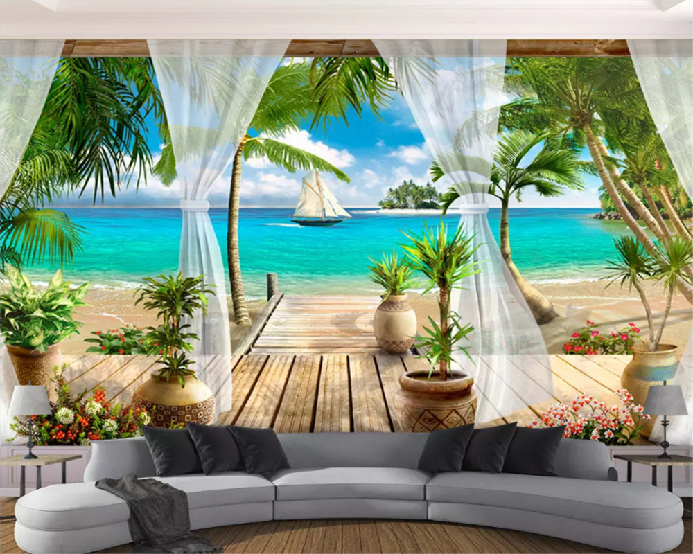 beibehang Stylish high end decorative painting stereo wallpaper balcony sea view background wall papers home decor papier peint in Wallpapers from Home Improvement
