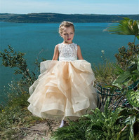 Tiered Tulle Flower Girl Dress with Ribbon Lace Top Ruffles Buttons Back Hot Sale Puffy Girls Pageant Gowns New Arrivals Longo