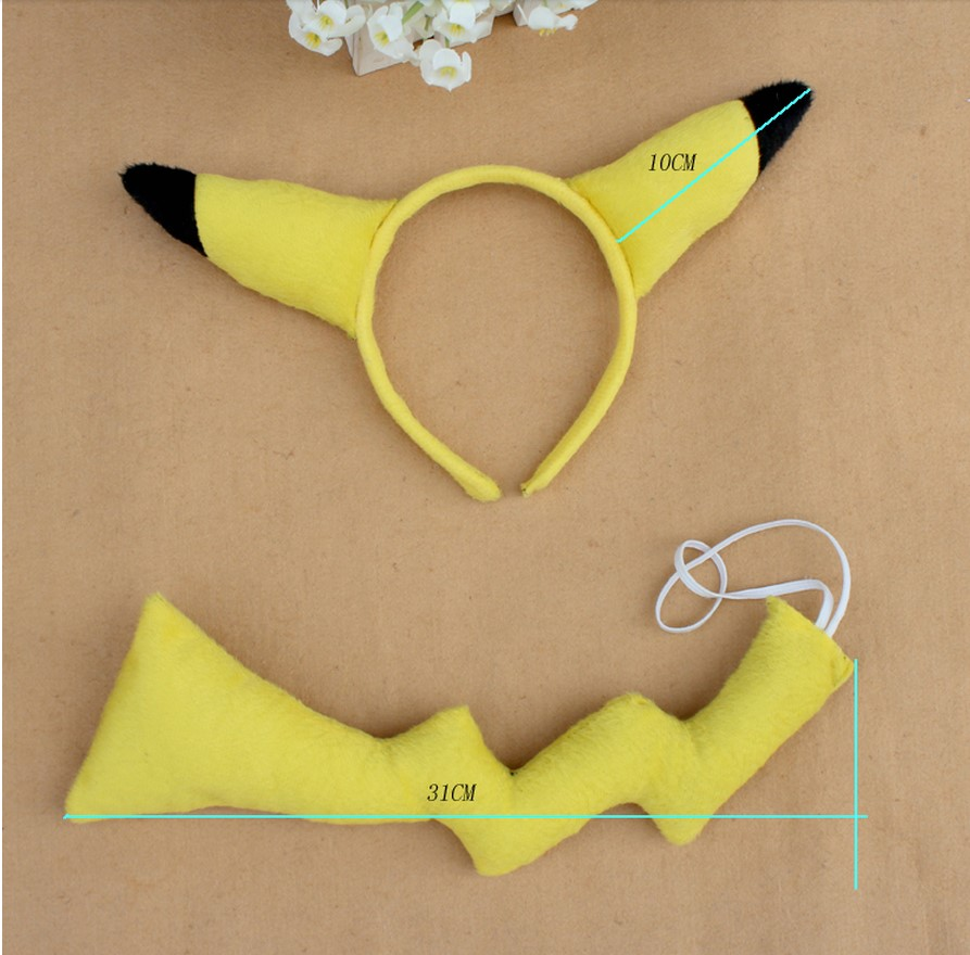 Pokemon PIKACHU ear headband headwear and tail dress up kit COSTUME PARTY SET Anime Animal set  Hair Accessories