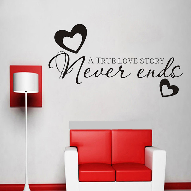 creative love heart design wall stickers home decor living room