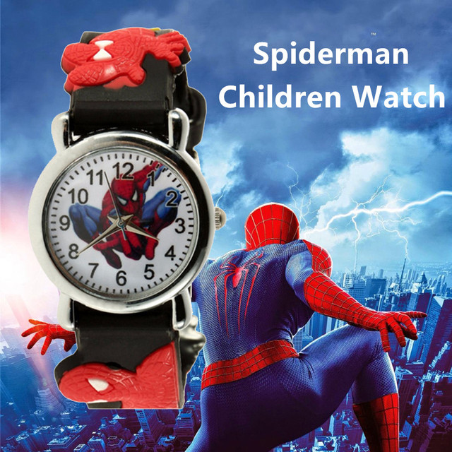 3D Spiderman Cartoon Kids Wrist Watch