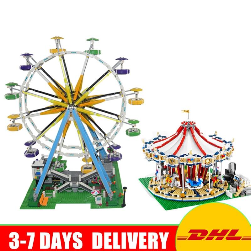 LEPIN 15012 City Series Expert Ferris Wheel 15013 Carousel Model Building Blocks Bricks Toys Christmas Gifts Clone 10247 10196 15012 2478pcs city series expert ferris wheel set compatible with 10247 model building blocks toys